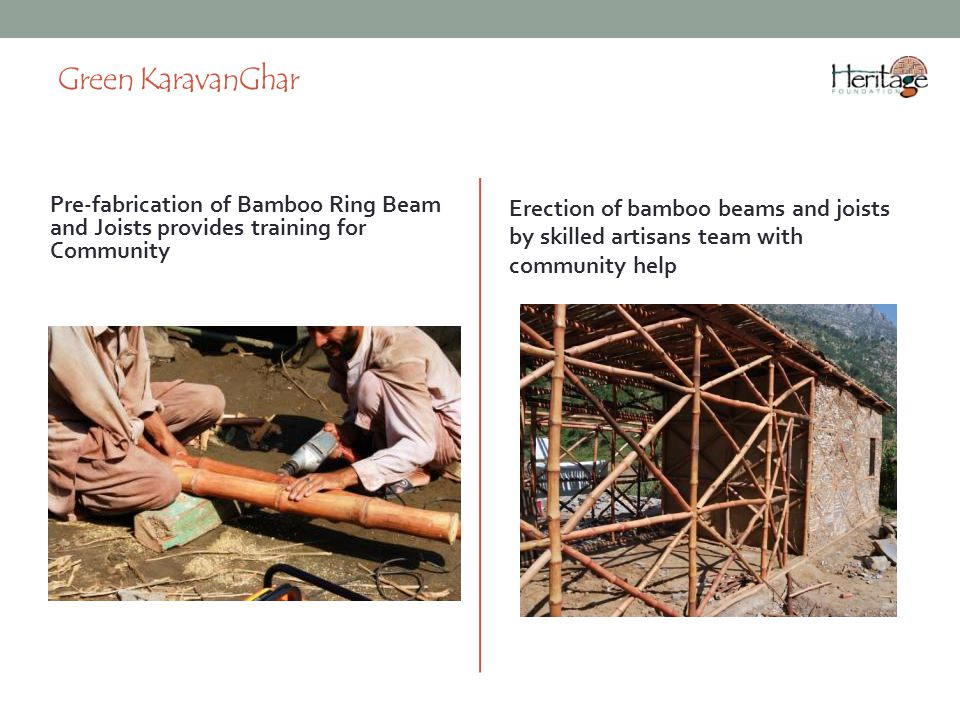 Green KaravanGhar Erection of bamboo beams and joists by skilled artisans team with community help.