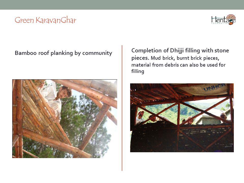Green KaravanGhar Bamboo roof planking by community