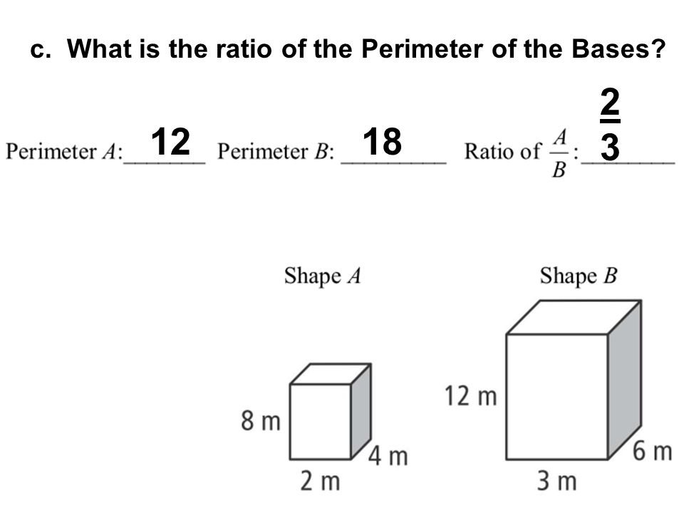 c. What is the ratio of the Perimeter of the Bases