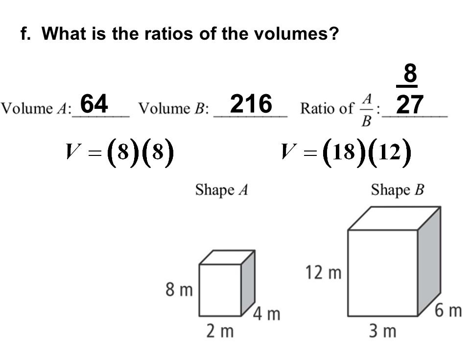 f. What is the ratios of the volumes