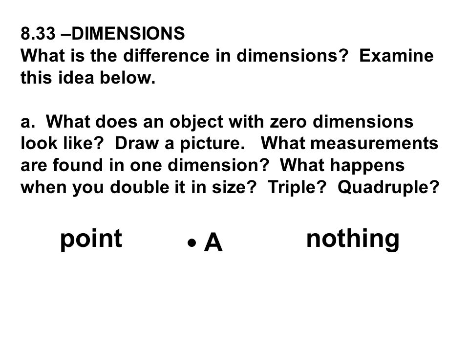 point nothing A 8.33 –DIMENSIONS