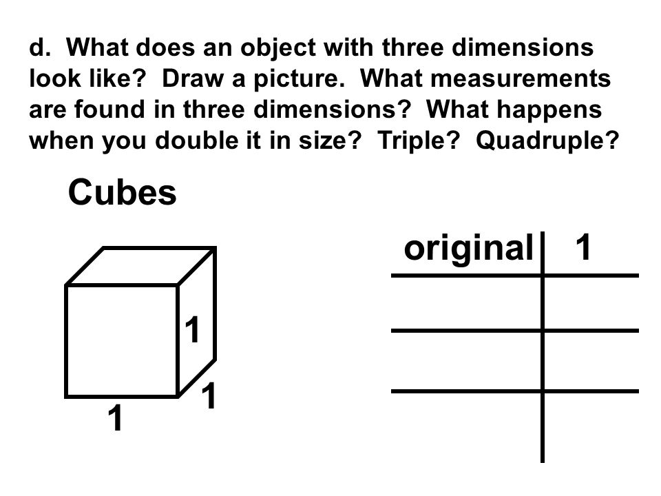 d. What does an object with three dimensions look like. Draw a picture