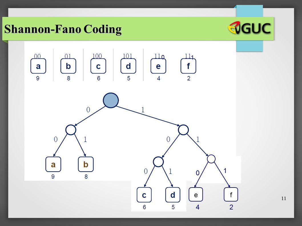 Shannon-Fano Coding 1 1 e f 11 4 2 11