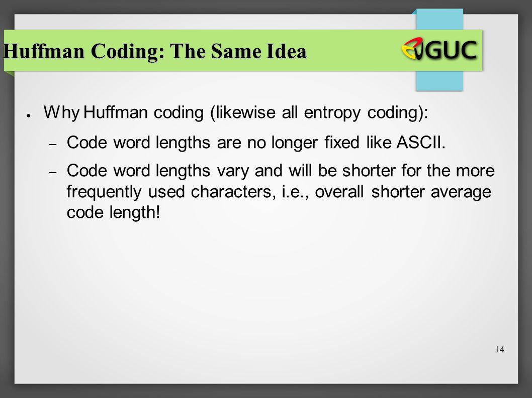 Huffman Coding: The Same Idea
