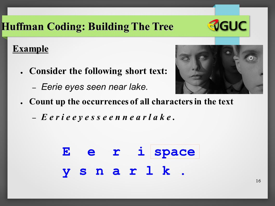 E e r i space y s n a r l k . Huffman Coding: Building The Tree