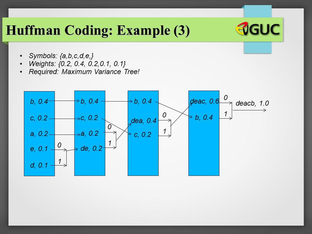 Huffman Coding: Example (3)