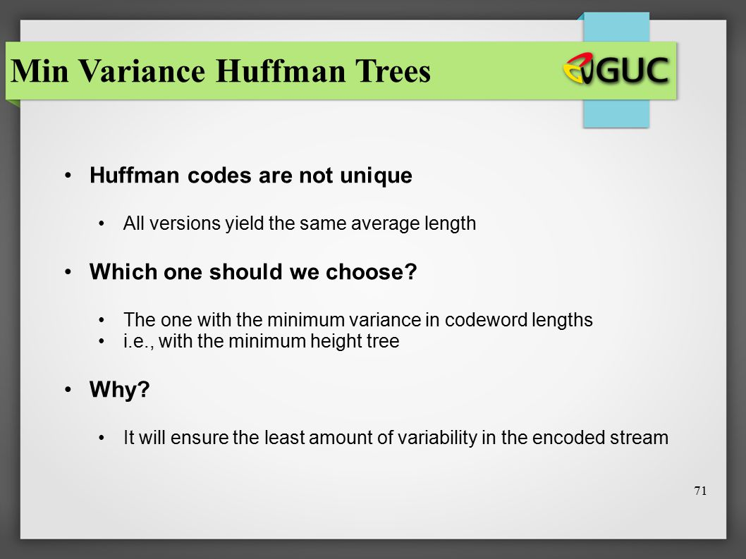 Min Variance Huffman Trees