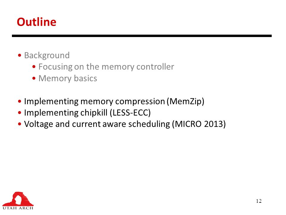 Outline Background Focusing on the memory controller Memory basics