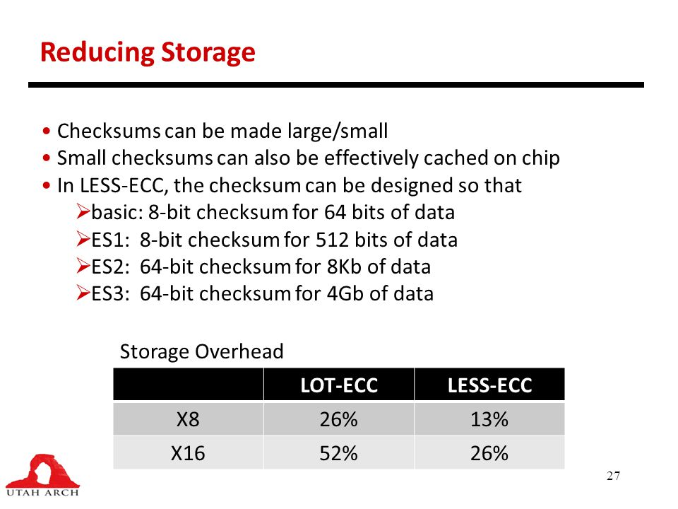 Reducing Storage Checksums can be made large/small