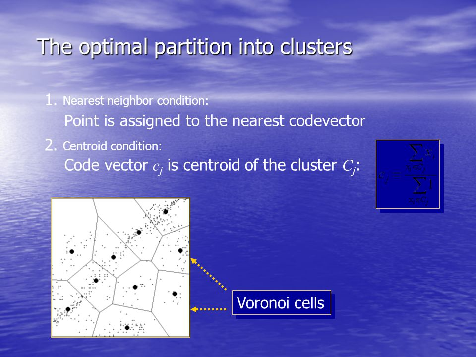 The optimal partition into clusters