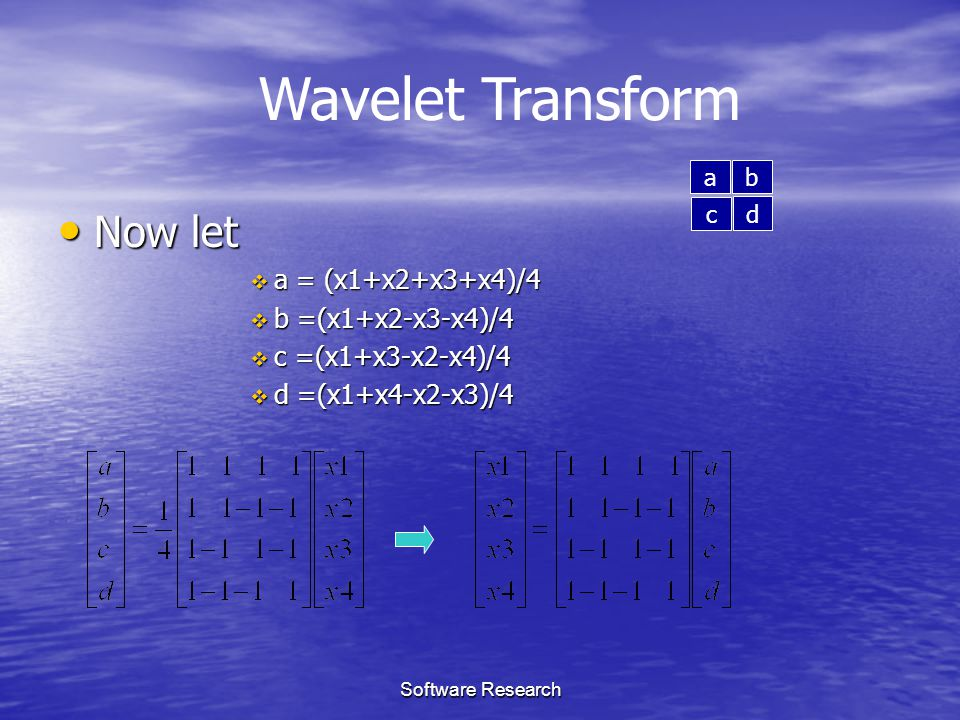 Wavelet Transform Now let a = (x1+x2+x3+x4)/4 b =(x1+x2-x3-x4)/4