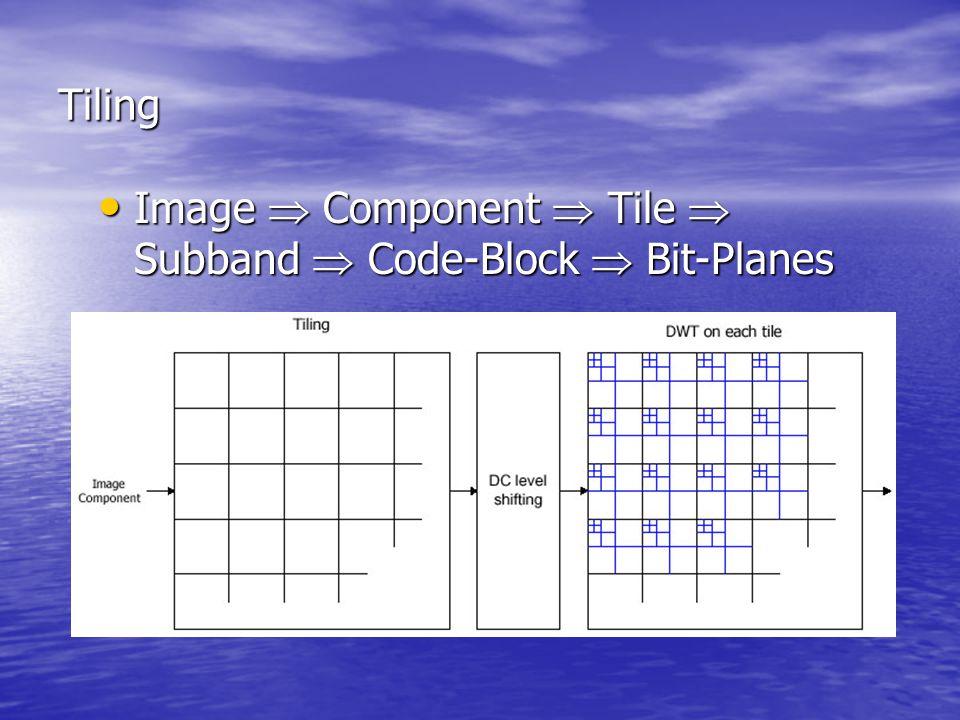 Tiling Image  Component  Tile  Subband  Code-Block  Bit-Planes