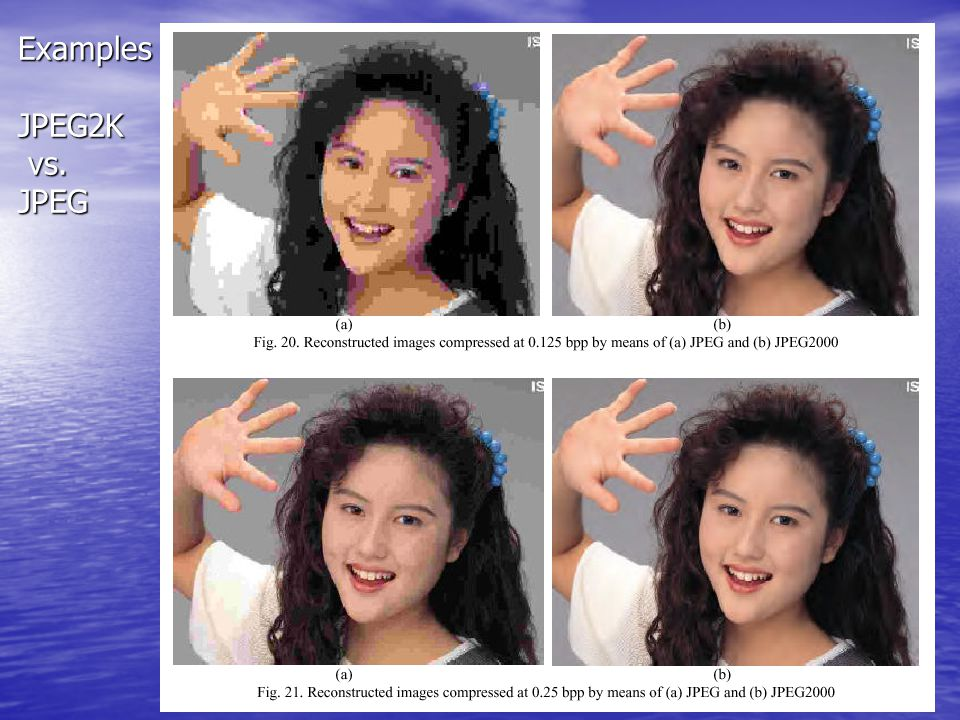 Examples JPEG2K vs. JPEG