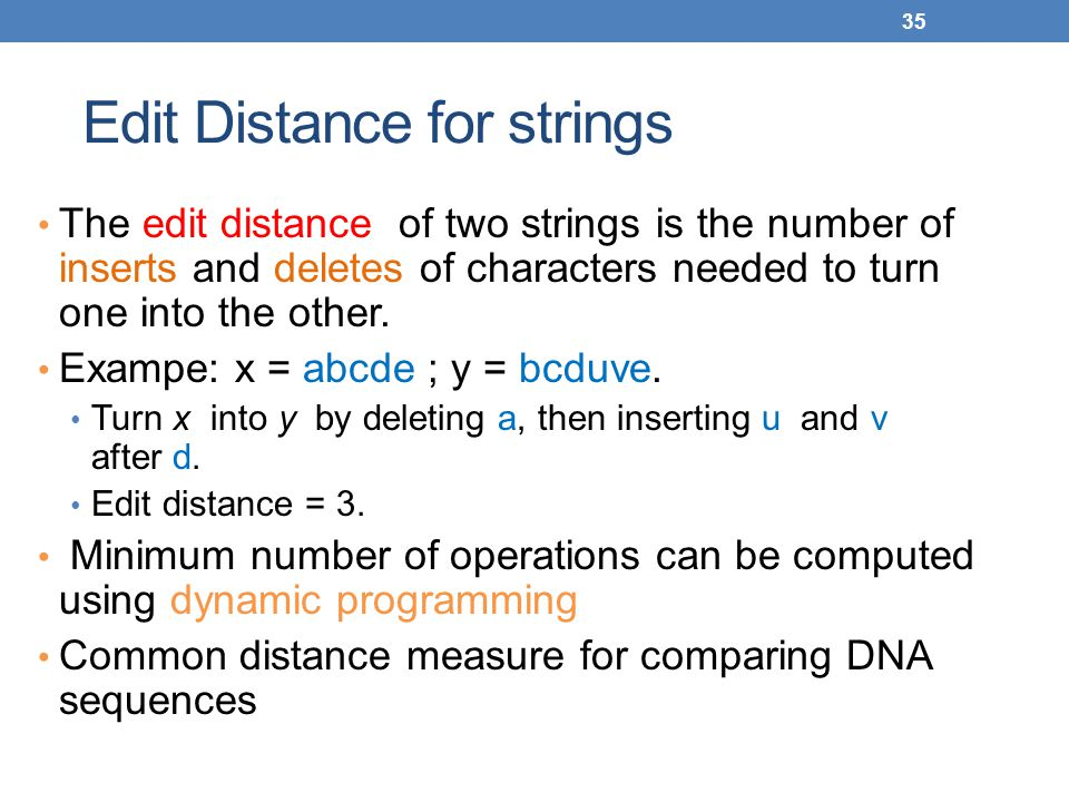 Edit Distance for strings