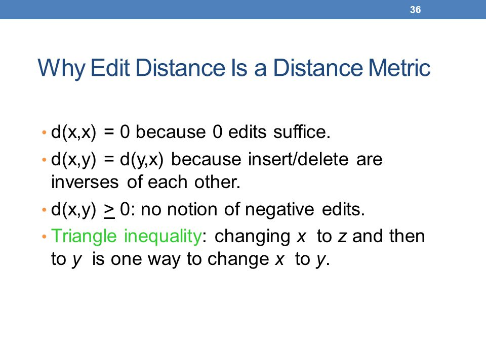 Why Edit Distance Is a Distance Metric