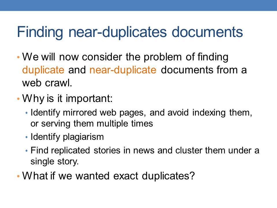 Finding near-duplicates documents