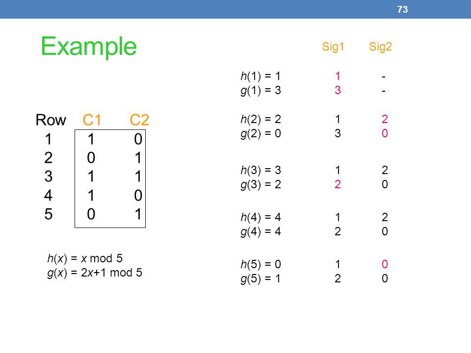 Example Row C1 C2 1 1 0 2 0 1 3 1 1 4 1 0 5 0 1 Sig1 Sig2 h(1) = 1 1 -