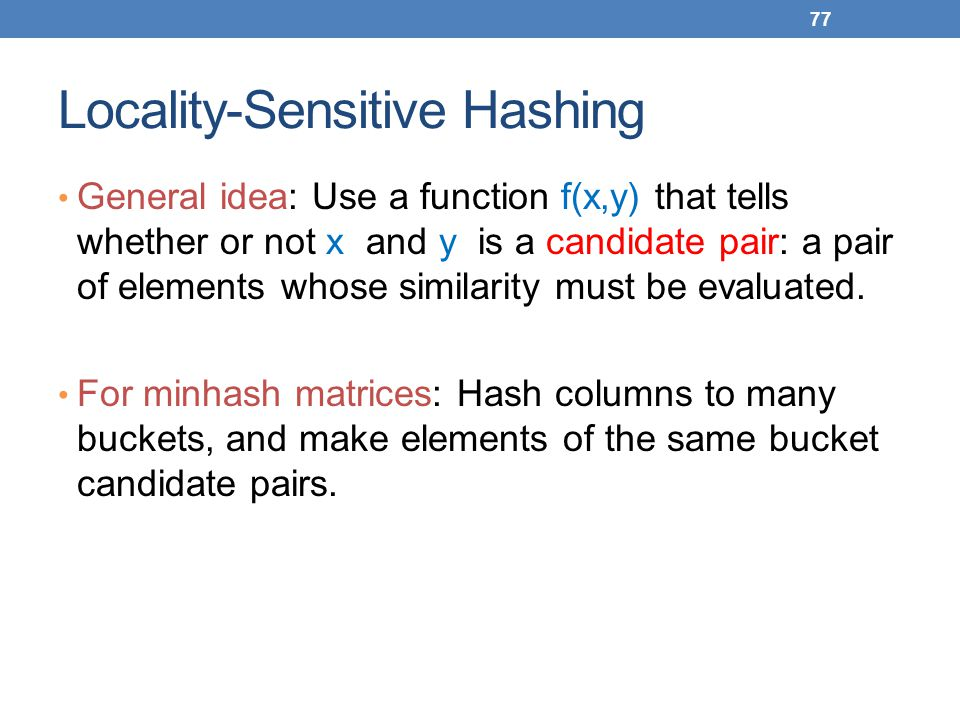 Locality-Sensitive Hashing