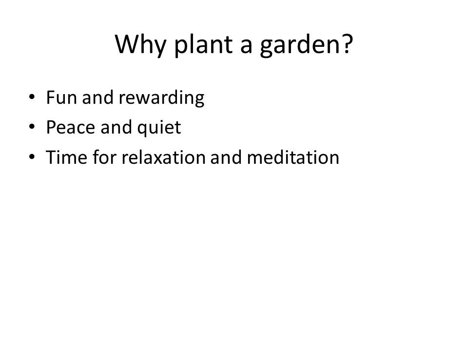 Why plant a garden Fun and rewarding Peace and quiet