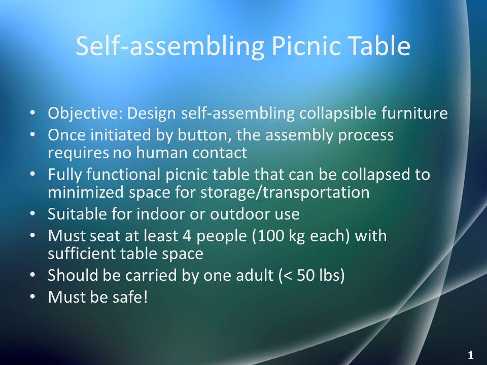 Self-assembling Picnic Table