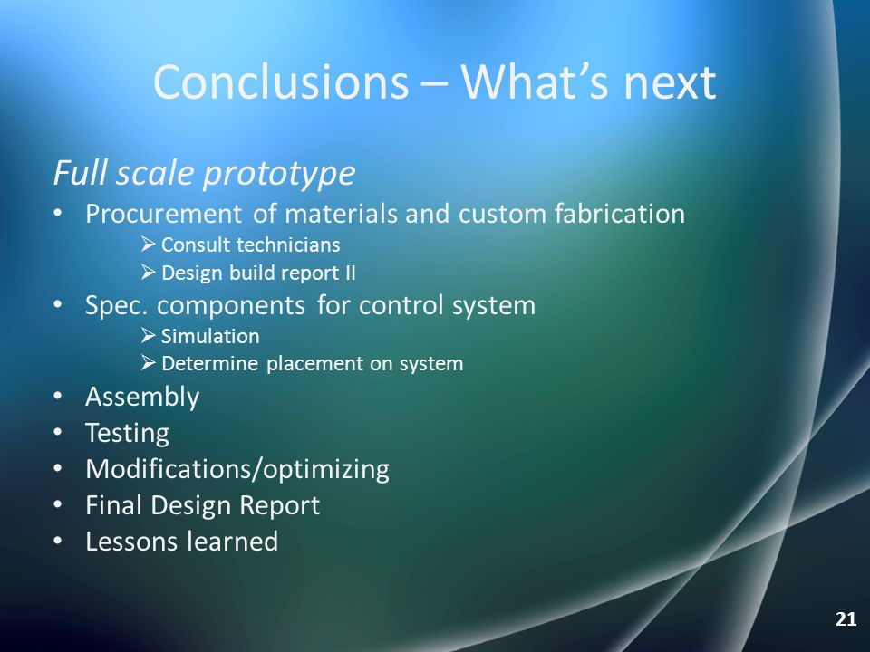 Conclusions – What's next