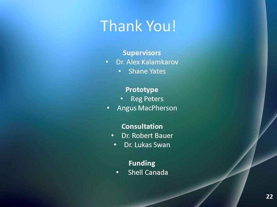 Thank You! Supervisors Dr. Alex Kalamkarov Shane Yates Prototype
