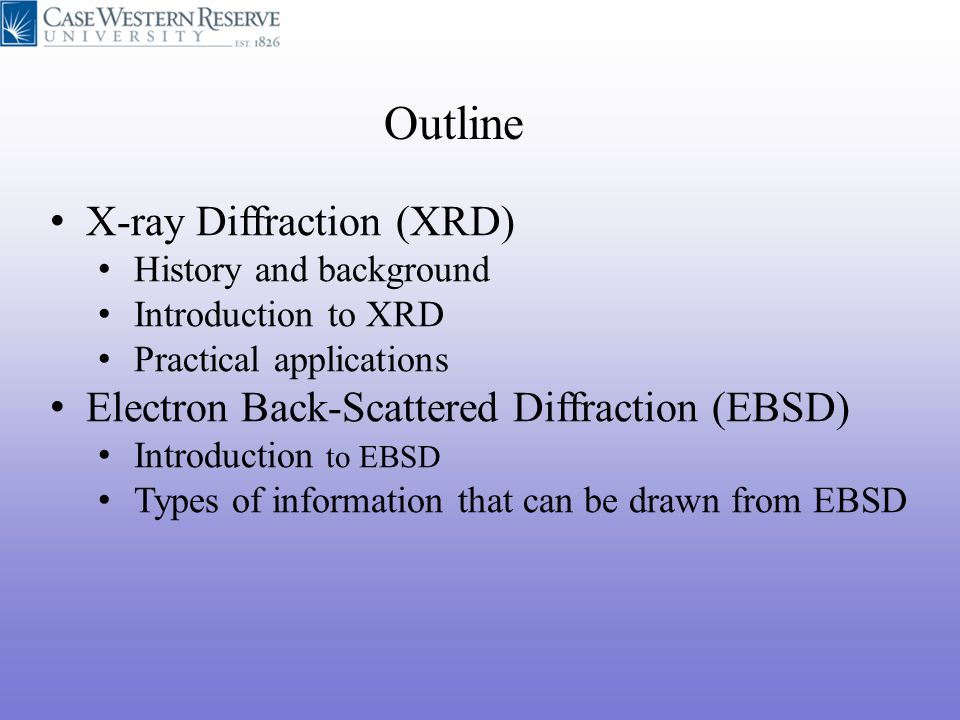 Outline X-ray Diffraction (XRD)