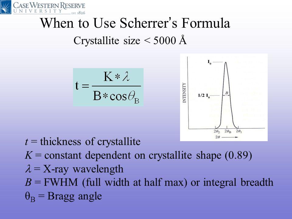 When to Use Scherrer's Formula