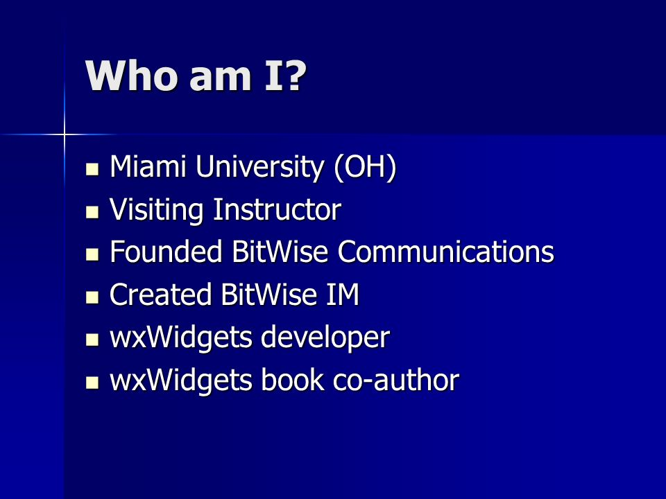 Who am I Miami University (OH) Visiting Instructor