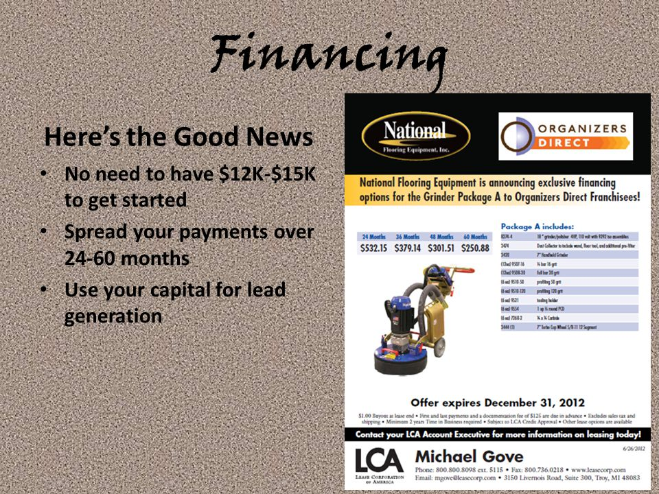 Financing Here's the Good News