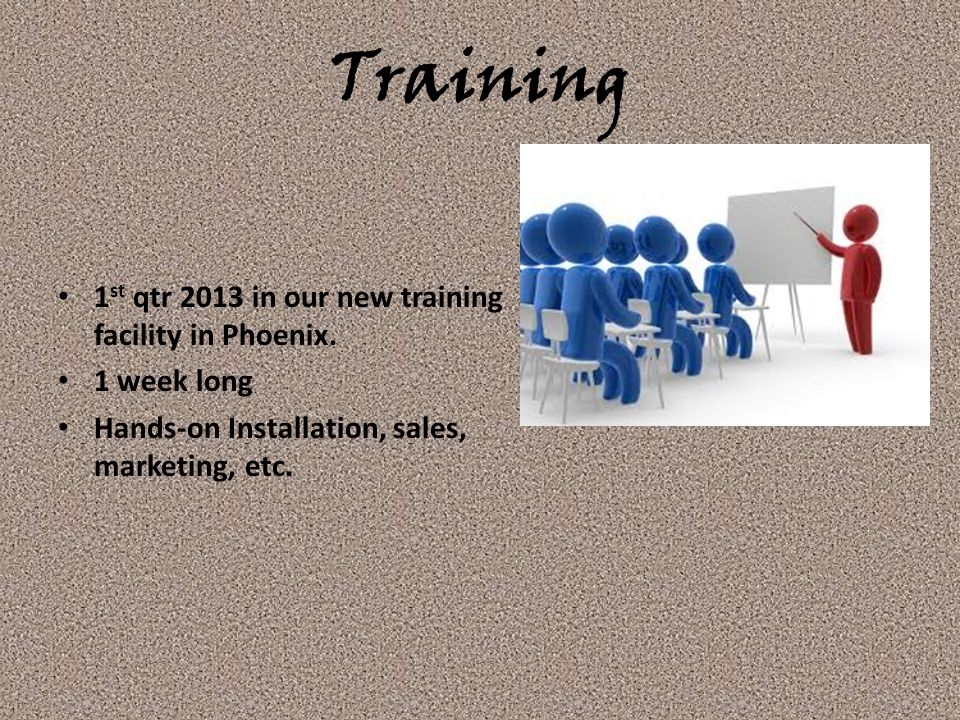 Training 1st qtr 2013 in our new training facility in Phoenix.