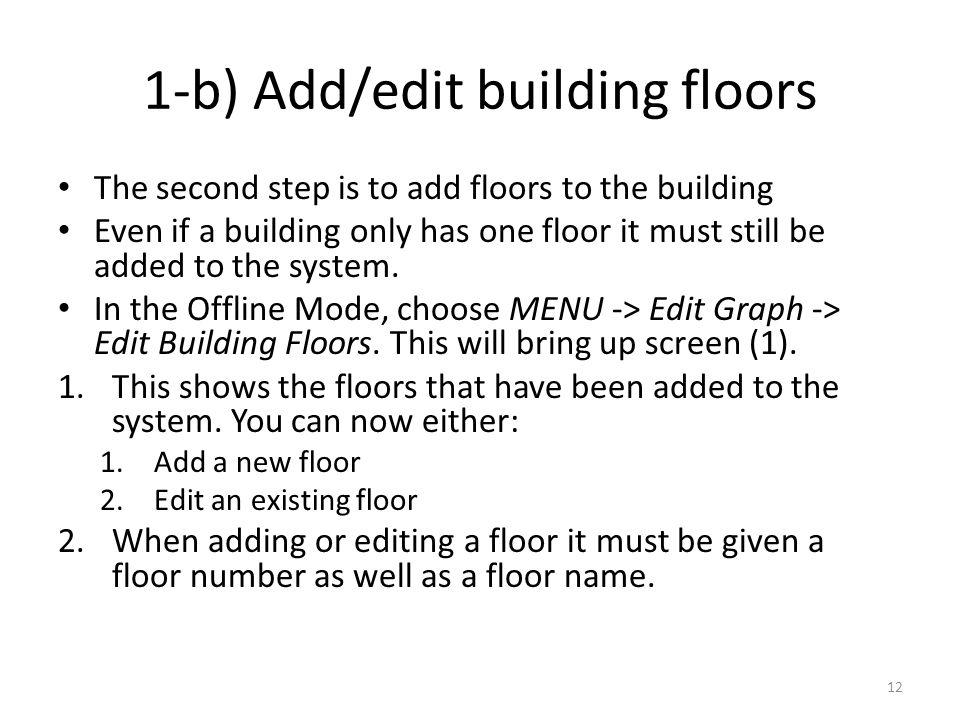 1-b) Add/edit building floors