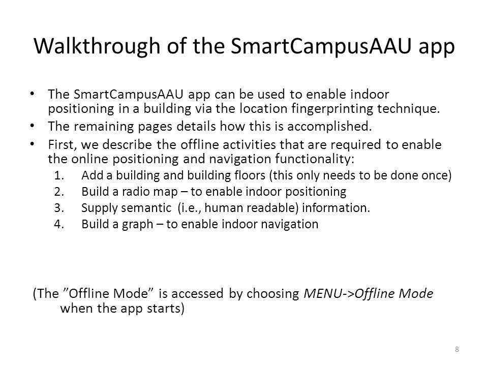 Walkthrough of the SmartCampusAAU app