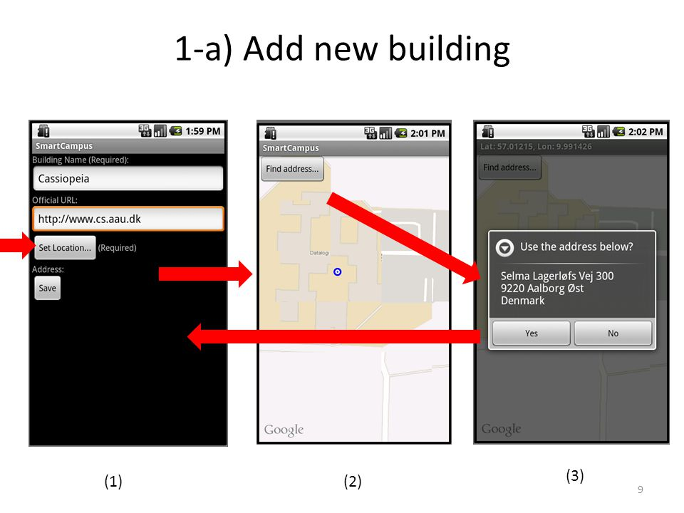 1-a) Add new building (3) (1) (2)