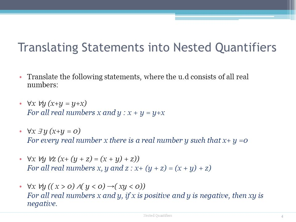 Translating Statements into Nested Quantifiers