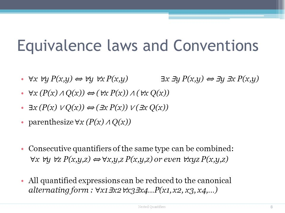 Equivalence laws and Conventions