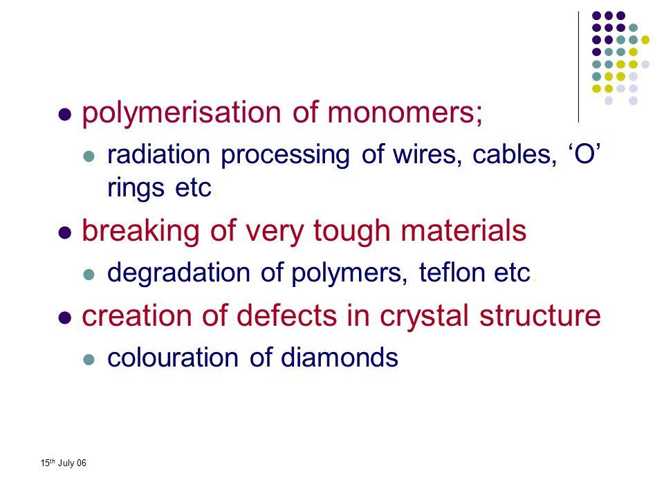 polymerisation of monomers;