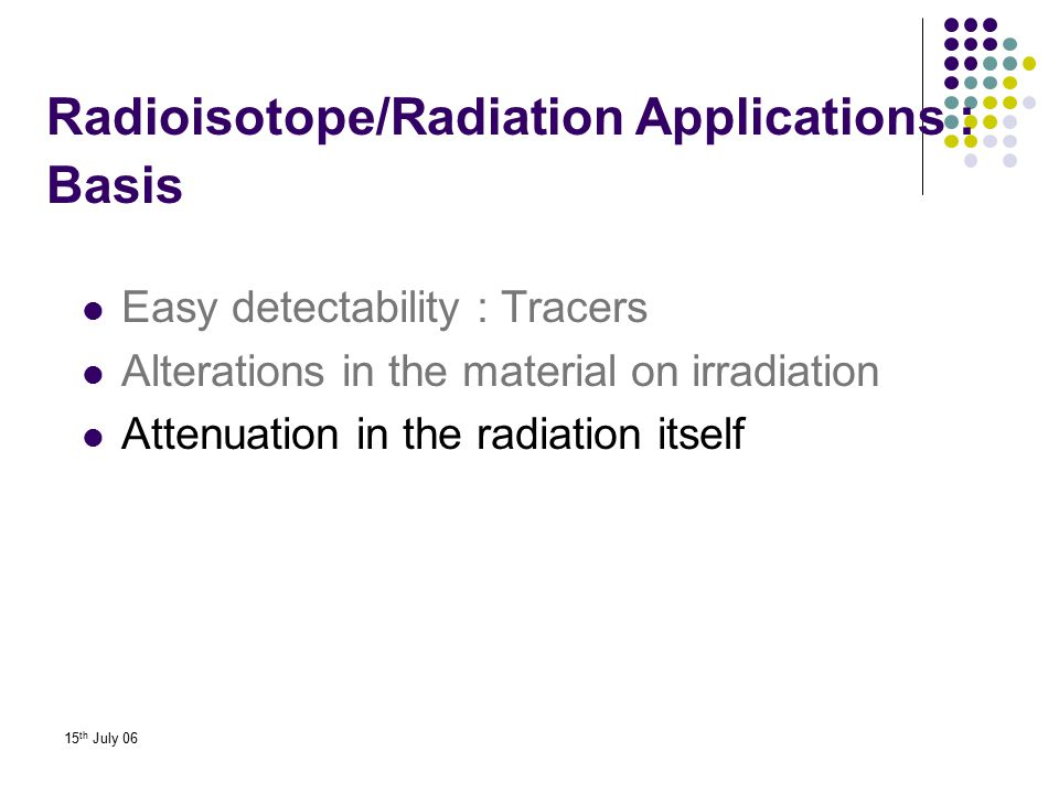 Radioisotope/Radiation Applications : Basis