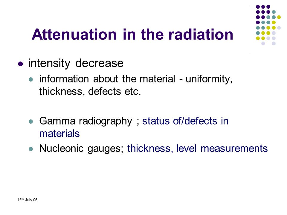 Attenuation in the radiation