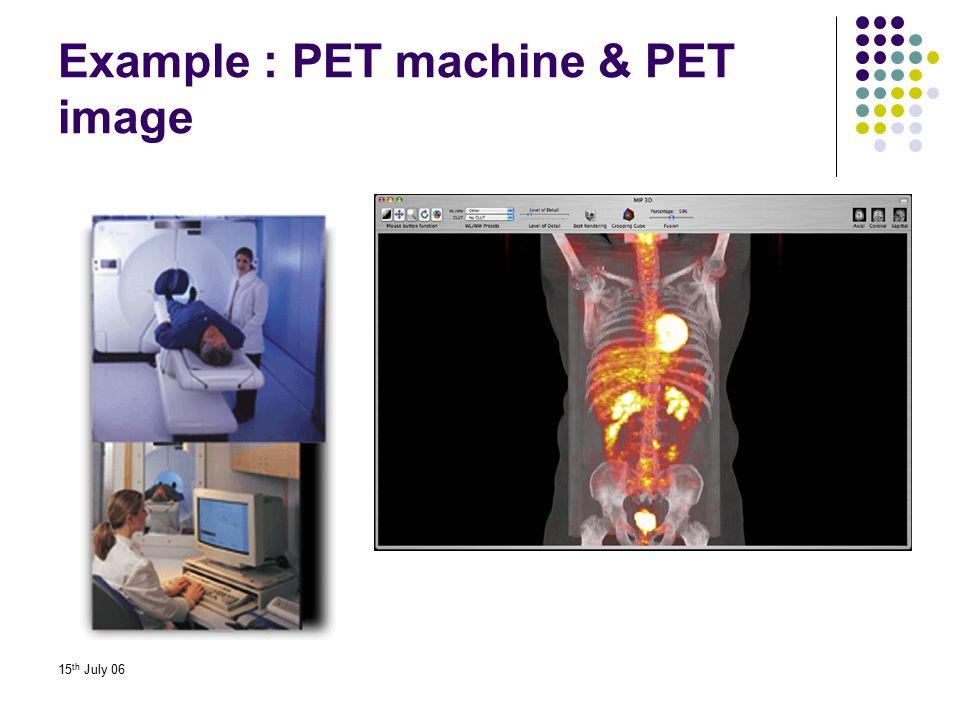 Example : PET machine & PET image