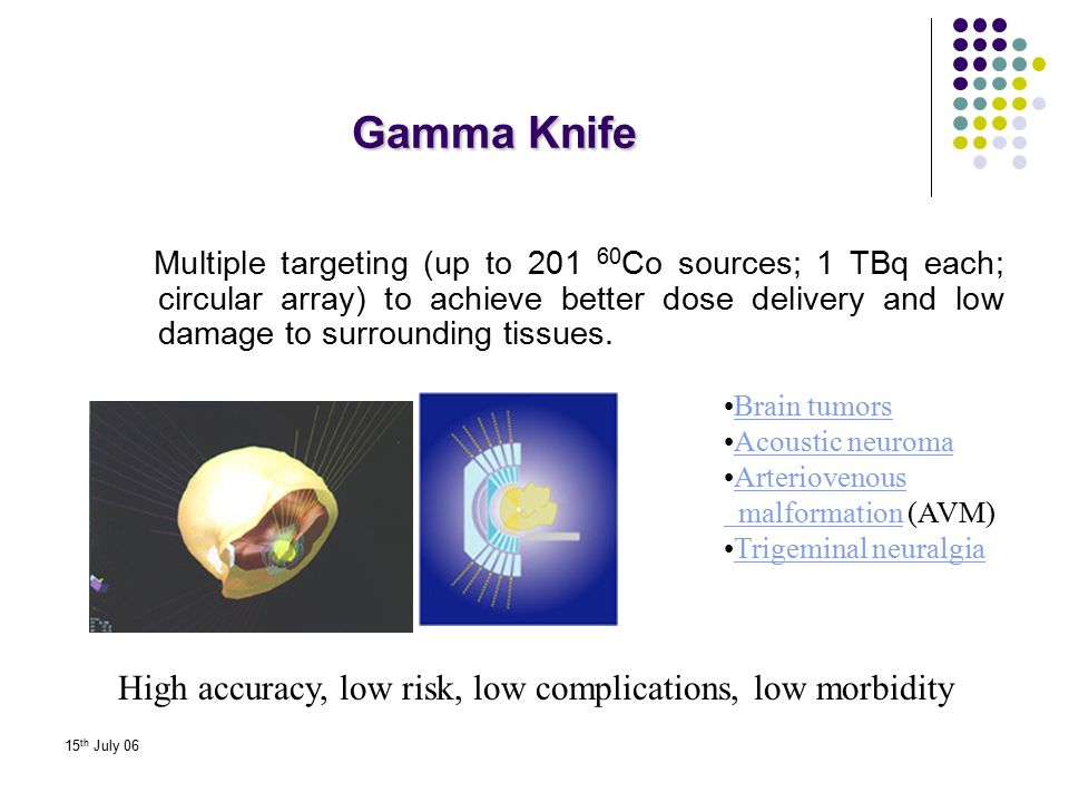 Gamma Knife High accuracy, low risk, low complications, low morbidity