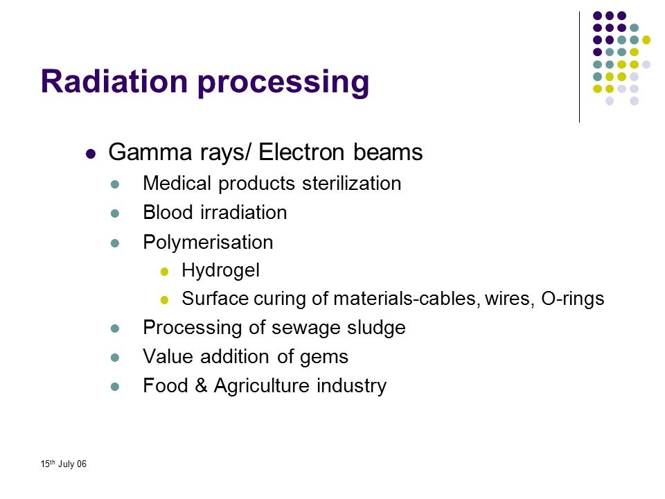 Radiation processing Gamma rays/ Electron beams