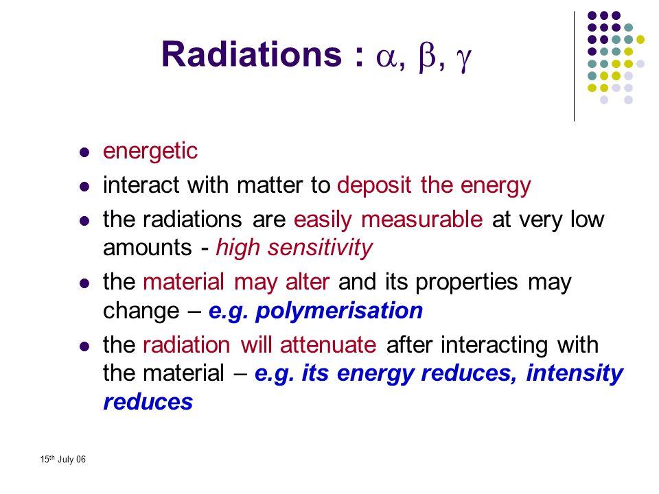 Radiations : , ,  energetic