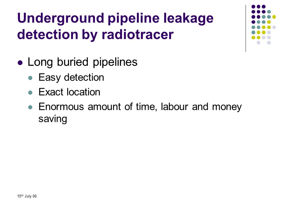 Underground pipeline leakage detection by radiotracer