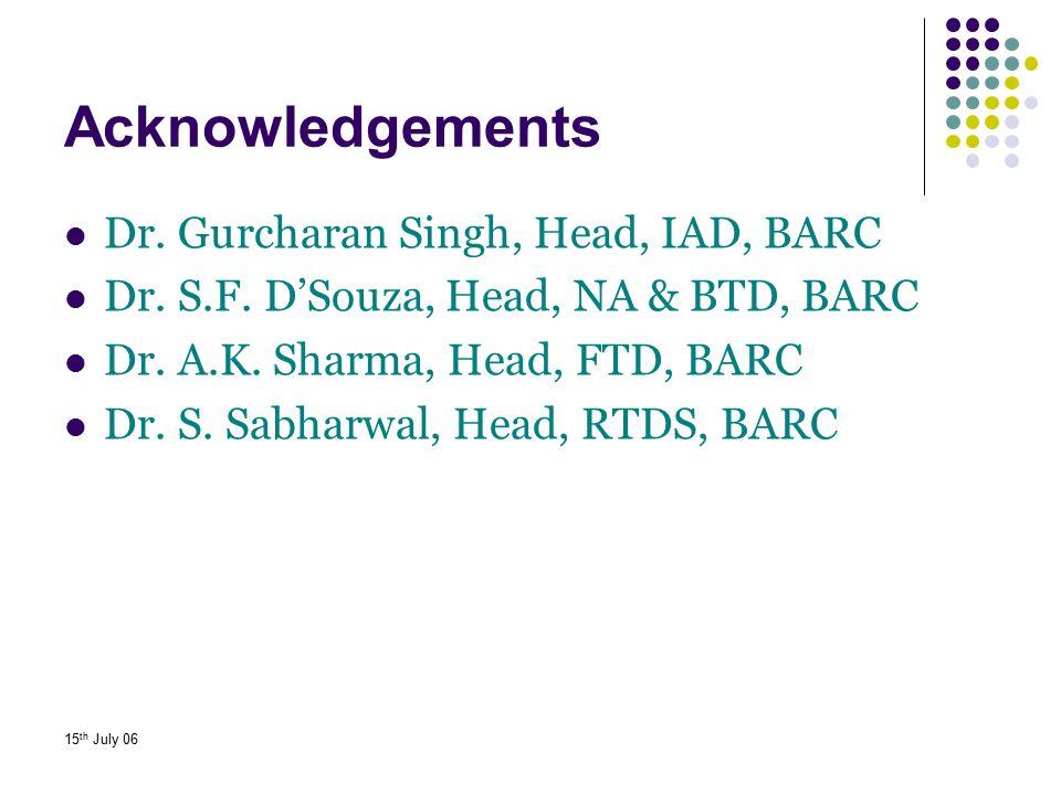 Acknowledgements Dr. Gurcharan Singh, Head, IAD, BARC