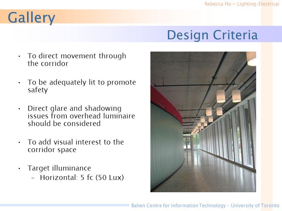 Gallery Design Criteria To direct movement through the corridor