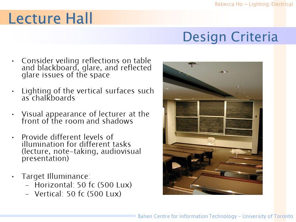 Lecture Hall Design Criteria