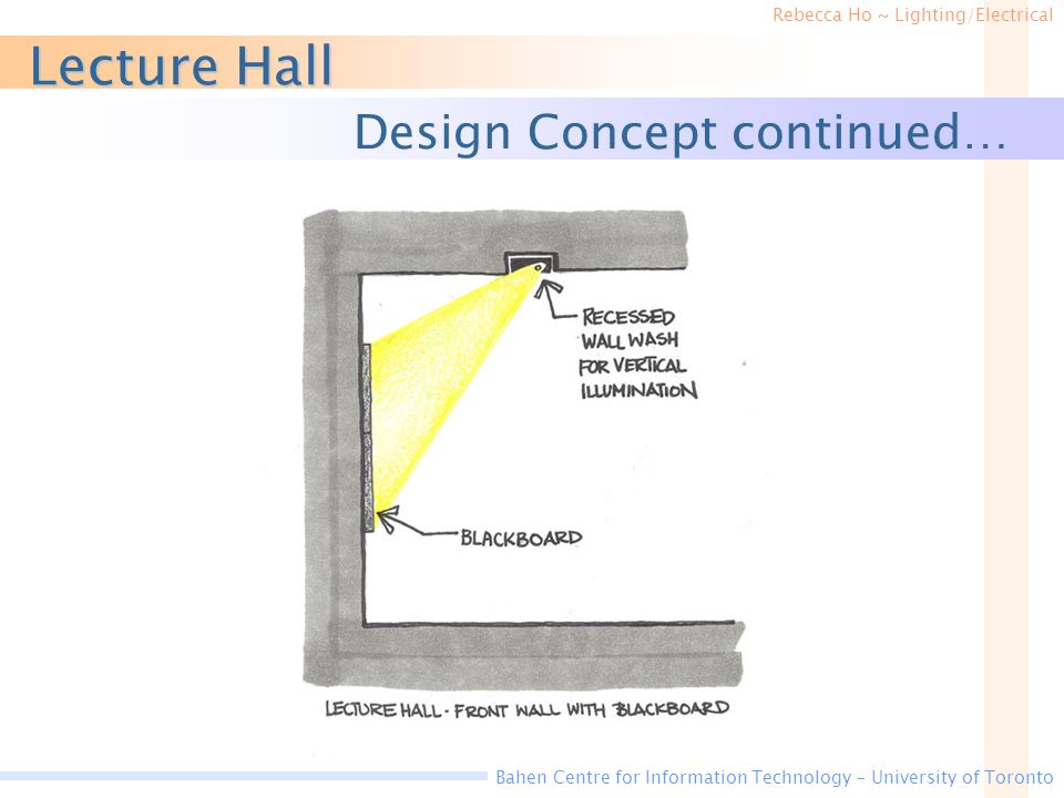 Lecture Hall Design Concept continued…