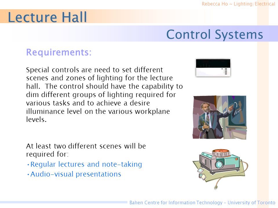 Lecture Hall Control Systems Requirements: