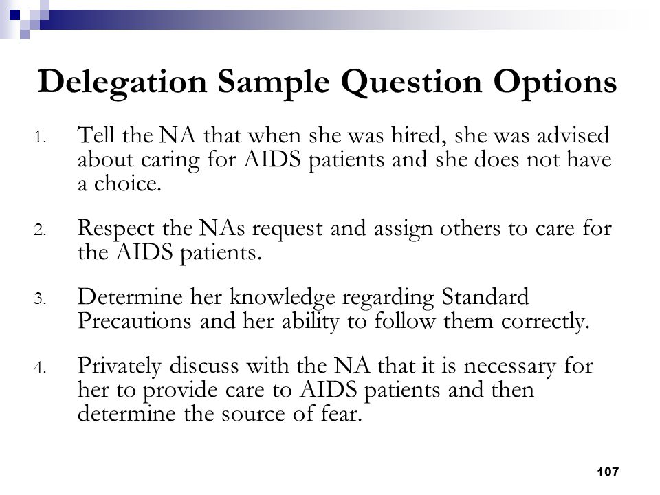 Delegation Sample Question Options
